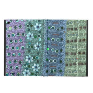 Textured knit sequined flowers beaded blue/green iPad air case