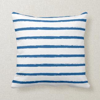 Textured Stripes Lines Royal Blue Modern Deckled Cushion