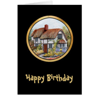 Thached Vintage Country Cottage Painting Greeting Card