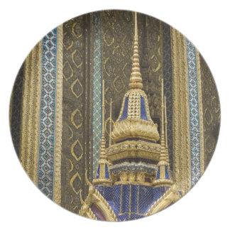 Thailand, Bangkok. Details of ornately decorated Plate