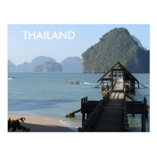 Thailand Beach Phangnga Bay Longtail Boats Postcard