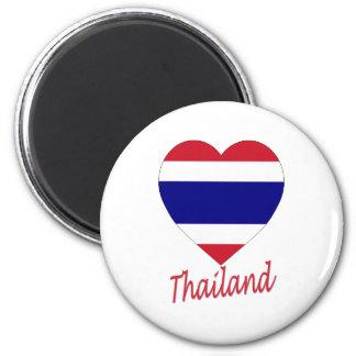 Thailand Flag Heart 6 Cm Round Magnet