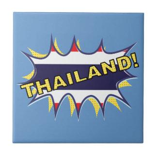 Thailand flag POW star burst Small Square Tile