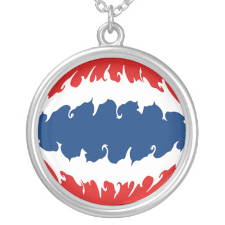 Thailand Gnarly Flag Round Pendant Necklace