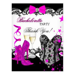 Thank You Bachelorette Lace Pink Corset Champagne Postcard