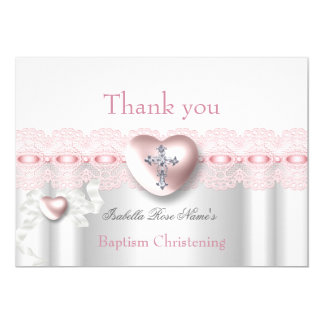 Thank you Baptism Pink Silver Photo Heart Cross Card