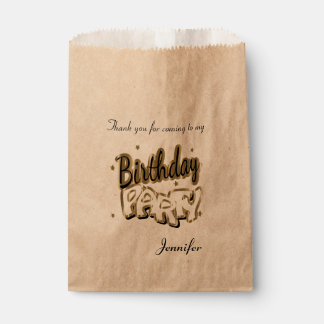 Thank You Birthday Party | Gold Favour Bags