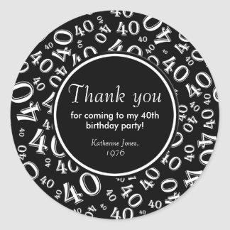 Thank You: Black and White 40th Birthday Party Classic Round Sticker