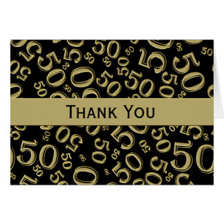 Thank You Black/Gold Over The Hill 50th Birthday Card