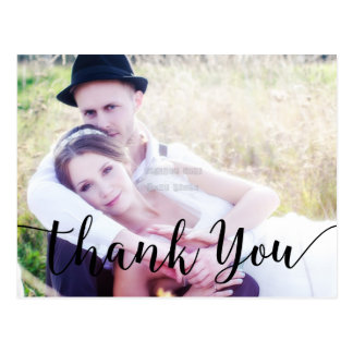 Thank You Black Script Type Photo Postcard