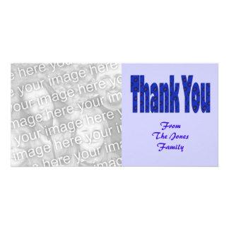 thank you blue photo card