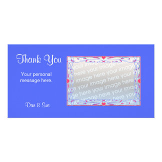 Thank You Blue Personalized Photo Card