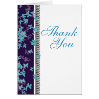 Thank you blue purple white butterfly elegant stationery note card