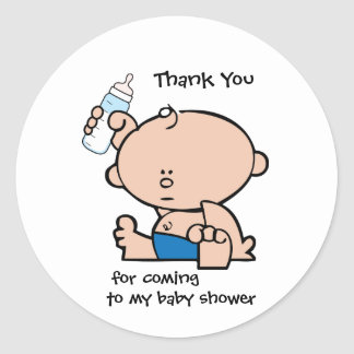 Thank You Boy Baby Shower Gift Tag Sticker