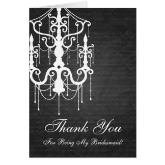 Thank You Bridesmaid Chandelier Black Card