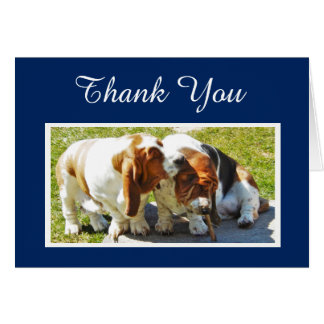 """Thank You"" Card w/Cute Basset Hounds"