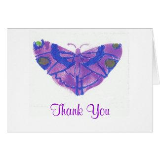 """Thank you"" card w/purple butterfly"