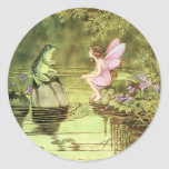 Thank You Card with Fairy and Frog Round Sticker