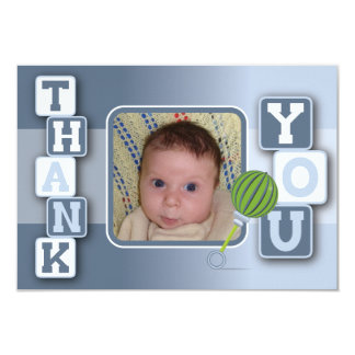 Thank You Card with Photo - Baby Boy Blocks Rattle