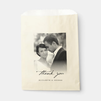 Thank You Classic Script Calligraphy Photo Wedding Favour Bags