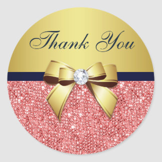 Thank You Coral Sequins Gold Navy Diamonds Bow
