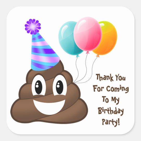 Thank You Customised Poop Emoji Birthday Stickers