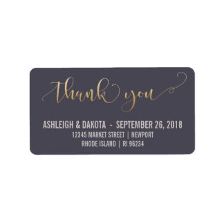 Thank You | Elegant Gold Script Wedding Photocard Address Label