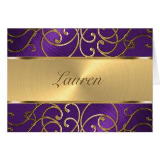 Thank You Elegant Purple and Gold Filigree Card