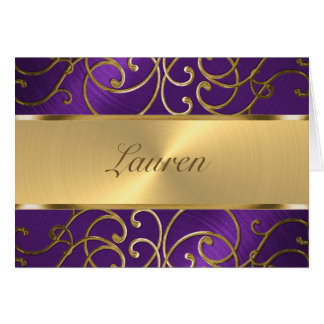 Thank You Elegant Purple and Gold Filigree Note Card