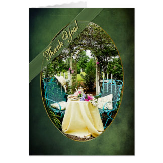 THANK YOU - ENGLISH COTTAGE GARDEN - UPRIGHT GREETING CARD