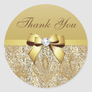 Thank You Faux Gold Sequins Bow Diamond