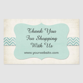 'Thank You for Shopping With Us' Mint Business Rectangular Sticker