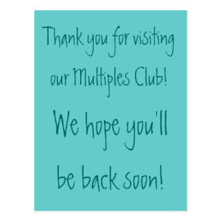 Thank you for visiting our Multiples... Postcard