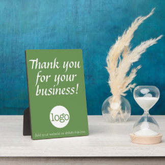 Thank you for your business with logo - green plaque