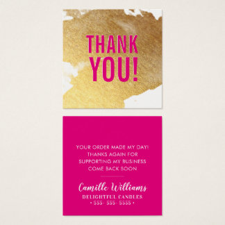 THANK YOU glam luxe faux gold foil splash hot pink Square Business Card