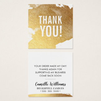 THANK YOU glamourous luxe faux gold foil splash Square Business Card