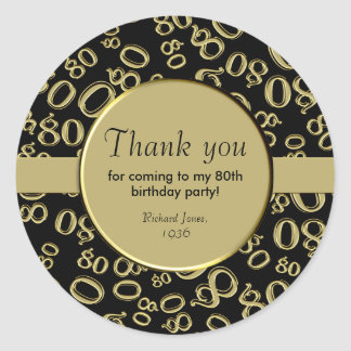 Thank You: Gold and Black 80th Birthday Party Classic Round Sticker