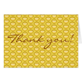 Thank you! Gold Fade Heart Tile Pattern Card