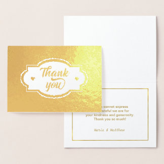 Thank You Hearts Label and Frame Gold ID426 Foil Card