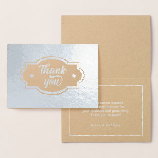 Thank You Hearts Label and Frame Silver ID426 Foil Card