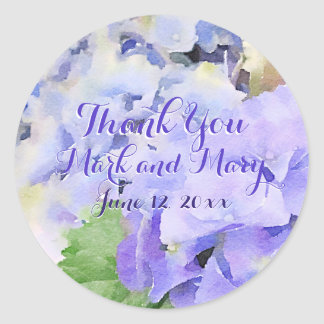 Thank You Hydrangea Watercolor Custom Classic Round Sticker