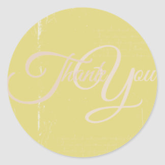 Thank You Label Seal - Wedding Yellow Round Sticker