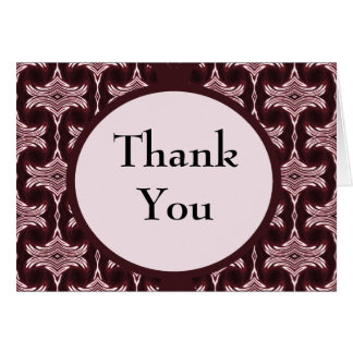 Thank You Maroon Art Deco Card