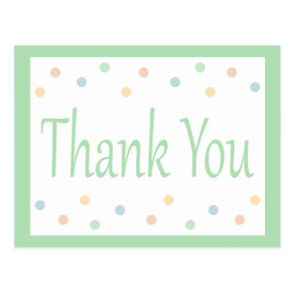 Thank You Mint Green And White Polka Dots Postcard