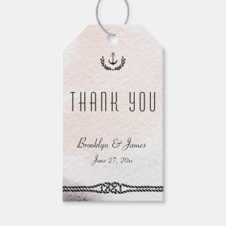 Thank You Nautical Gift Tags Watercolor Peach