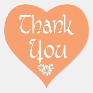 Thank You Orange And White Daisy Heart Sticker