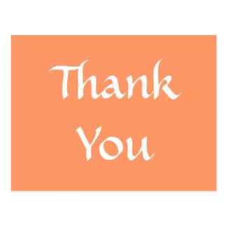 Thank You. Orange and White. Postcard