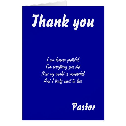 Thank You Pastor Quotes Thank you pastor greeting cards on zazzle.co ...