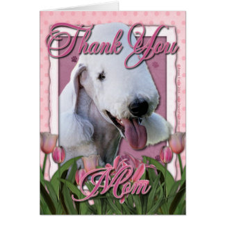 Thank You - Pink Tulips - Bedlington Terrier Card