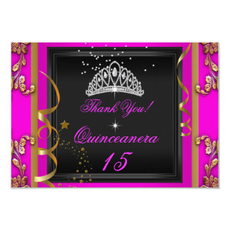 Thank You Quinceanera Hot Pink Gold Birthday Party Card